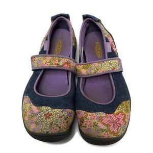 Keen Canvas Floral & Denim Mary Janes, SZ 4